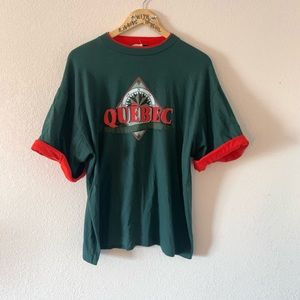 ++ [vintage] • green + red layered quebec tee ++